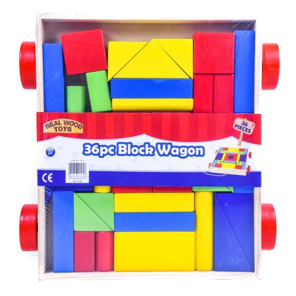 Wooden 36 Pc Block Wagon