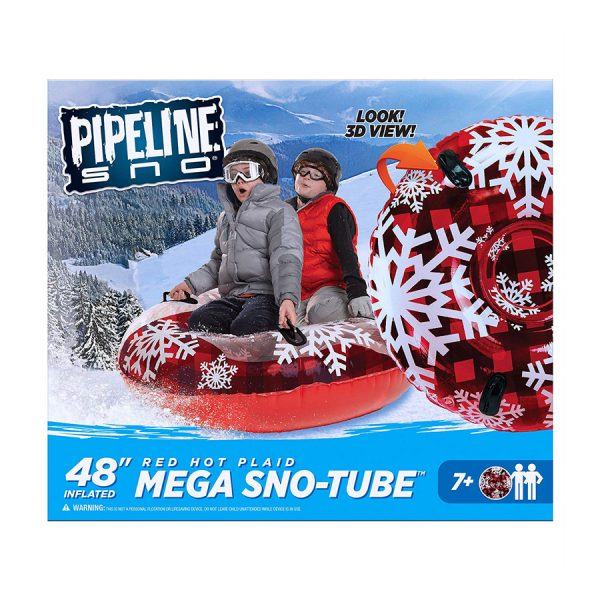 Mega Snow Tube Red Hot Plaid 48in Clear Top Aqua L