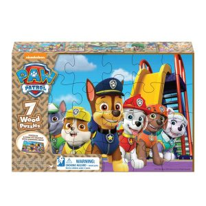 Paw Patrol 7 Puzzles In Wooden Storage Box