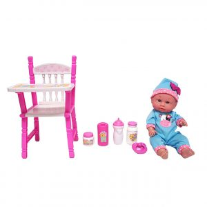 "12"" Baby Doll with High Chair Gift Set"