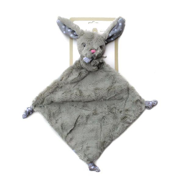 Grey Bunny Blanket w/Rattle