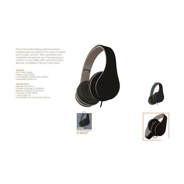 Folding Stereo Headphones Black