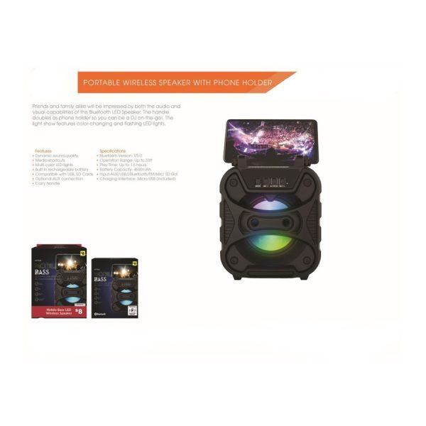 BLUETOOTH LED Speaker w Phone Holder